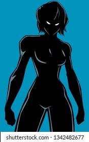 Silhouette illustration of powerful superheroine ready for battle.