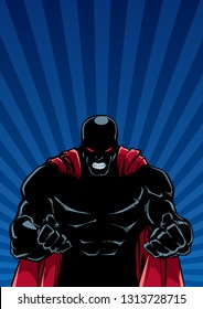 Silhouette illustration of raging superhero on abstract background with ray light.  ....
