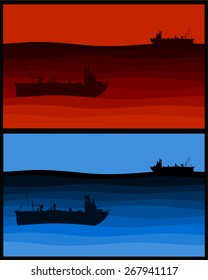 Silhouette Illustration of a red and blue ship scene
