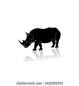 Silhouette illustration of a rhinoceros