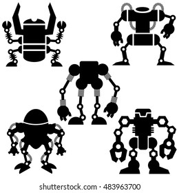 silhouette illustration of robots for world domination