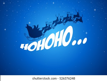 Silhouette illustration of Santa Claus driving his sleigh