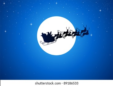 Silhouette illustration of Santa Claus driving his sleigh with the moon as the background