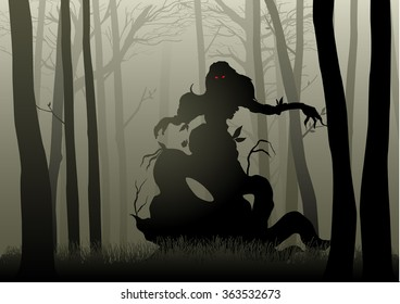 Silhouette illustration of a scary monster in dark woods