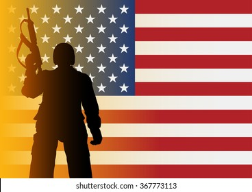 Silhouette illustration of a soldier from low angle shot on American flag