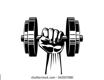 Silhouette illustration of strong hand lifting up steel dumbbell on isolated for fitness illustration job,  logo, or other