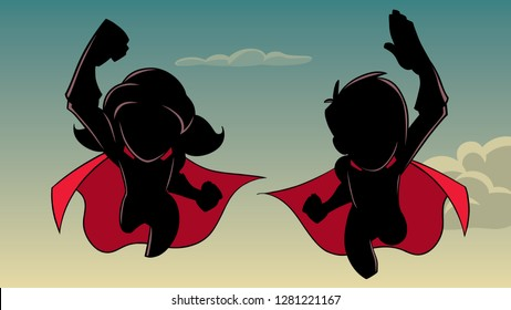 Silhouette illustration of super boy and super girl flying high in the sky side by side.