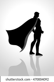 Silhouette illustration of a superhero from back view