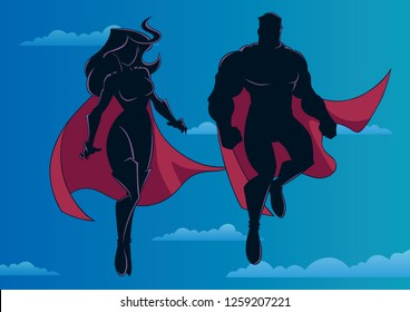 Silhouette illustration of superhero couple, flying high in the sky.