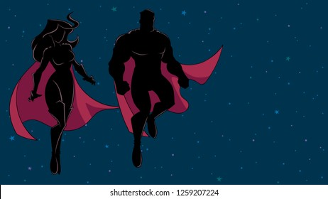 Silhouette illustration of superhero couple, flying in outer space.