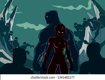 Silhouette illustration of superhero couple standing against evil minions.
