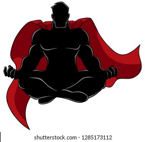 Silhouette illustration of superhero sitting in lotus position while meditating, isolated on white background for copy space.
