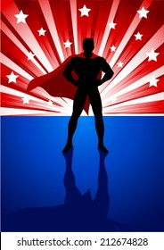 Silhouette illustration of a superhero standing in front of light burst