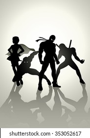 Silhouette illustration of superheroes in different pose