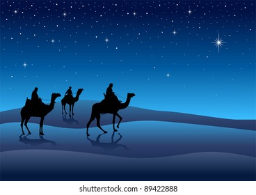 Silhouette illustration of Three Kings from the East