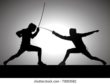 Silhouette illustration of two fencer