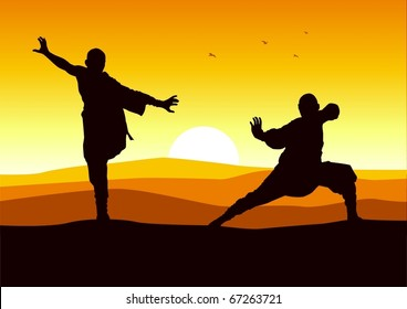 Silhouette illustration of two figures doing martial arts stance