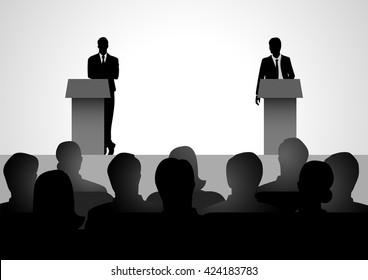 Silhouette illustration of two men figure debating on podium