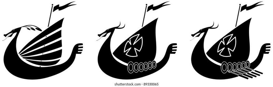 Silhouette illustration of a viking ship