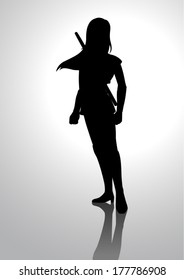 Silhouette illustration of a warrior girl