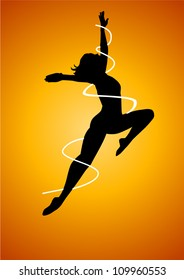 Silhouette illustration of a woman figure dancing