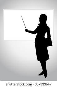 Silhouette illustration of a woman pointing a whiteboard