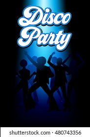 Silhouette Illustration of young energetic couples disco dancing on the floor, party, lifestyle theme