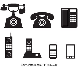 A silhouette image of a different telephone