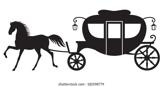 Silhouette image horse drawn carriage