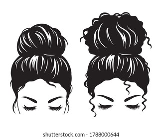Silhouette image of a woman face with messy hair in a bun and long eyelashes vector illustration.
