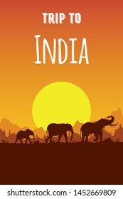 Silhouette of Indian, Asian family of elephant at sunset, mountains and nature. Vector background for travel flyers and brochures. Template for tourist poster or banner in flat style. Place for text.