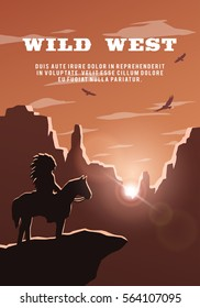 Silhouette of an Indian on the background of the wild west. Poster vector background.