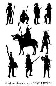 Silhouette Indians. Set of Indians in traditional costumes. Native american people with a bow and arrows, gun, a spear, on a horse. black vector illustration