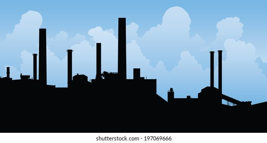 Silhouette of an industrial area.