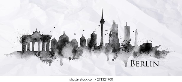 Silhouette ink Berlin city painted with splashes and drops streaks landmarks drawing on crumpled paper.