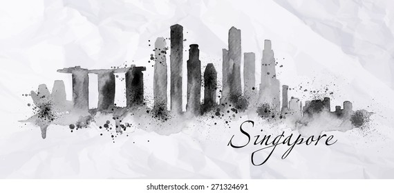 Silhouette ink Singapore city painted with splashes and drops streaks landmarks drawing on crumpled paper.
