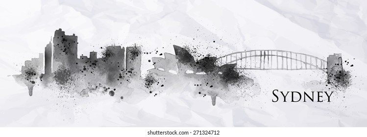 Silhouette ink Sydney city painted with splashes and drops streaks landmarks drawing in black ink on crumpled paper.
