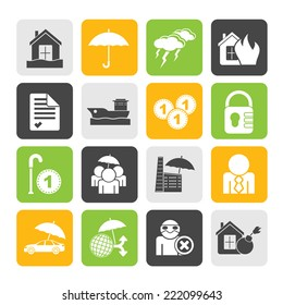 Silhouette Insurance and risk icons - vector icon set