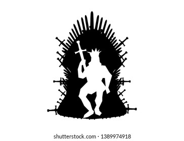 Silhouette iron throne of Westeros made of antique swords or metal blades. Ceremonial chair built of weapon isolated on white background. Beautiful fantasy design element. Vector Thrones King Arthur