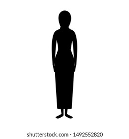 silhouette of islamic woman with traditional burka