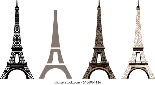 Silhouette and isolate Eiffel tower at Paris of France.