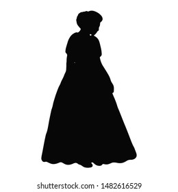 Silhouette isolated hand-drawn girl in a wedding dress