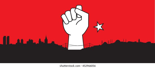 Silhouette of Istanbul, Turkish city, closed fist, Turkey. Coup d'etat. Coup