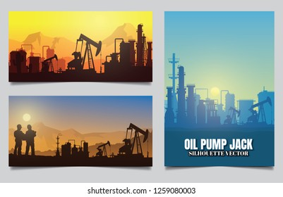 Silhouette of jack up drilling rig,Vector illustration.
