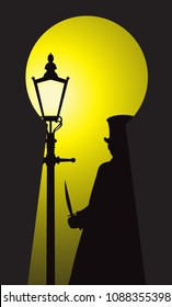 A silhouette of jack the ripper with a knife in the light of a street lamp through a keyhole