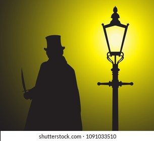 A silhouette of jack the ripper with a knife in the light of a street lamp