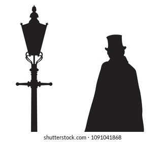 A silhouette of Jack the ripper next to a traditional old street light isolated on a white background