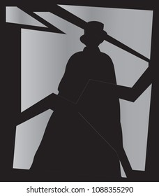 A silhouette of Jack the ripper on a smashed mirror on a black background