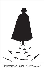 A silhouette of Jack the ripper walking with crows isolated on a white background