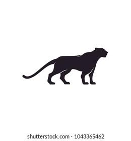 Silhouette of Jaguar Leopard Puma Lion Panther Cheetah Tiger logo design